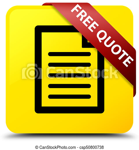 Free quote (page icon) yellow square button red ribbon in corner - csp50800738