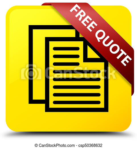 Free quote yellow square button red ribbon in corner - csp50368632