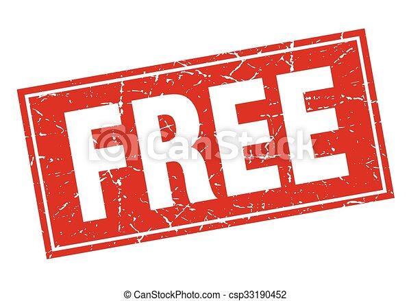 free red square grunge stamp on white - csp33190452