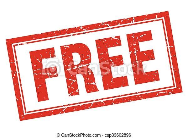 free red square grunge stamp on white - csp33602896
