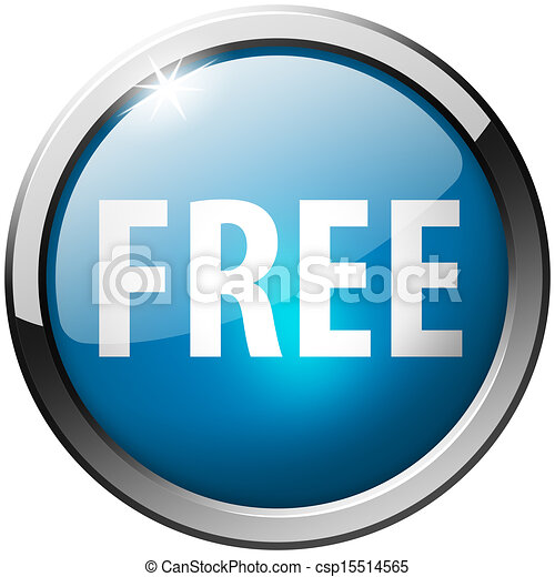 Free Round Blue Metal Shiny Button - csp15514565