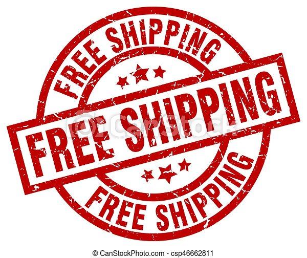free shipping round red grunge stamp - csp46662811