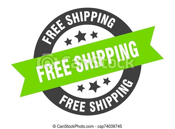 free shipping sign. free shipping black-green round ribbon sticker - csp74039745