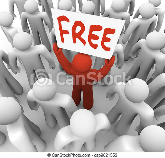 Free Sign Man Holding Giveaway Banner in Crowd  - csp9621553