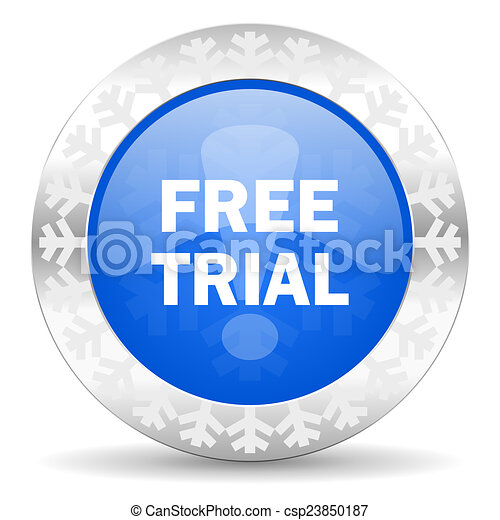 free trial blue icon, christmas button - csp23850187