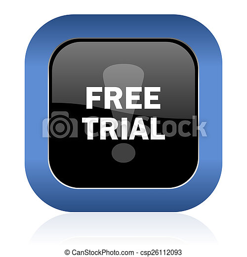 free trial square glossy icon - csp26112093
