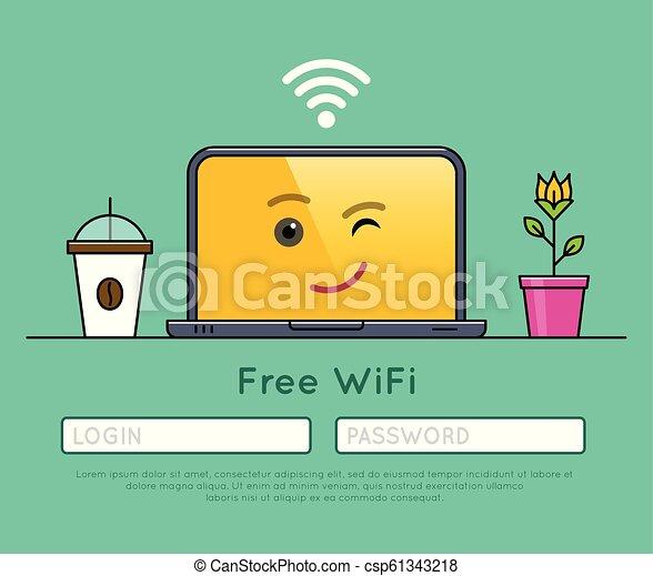 Free wifi access on laptop thin line icon - csp61343218