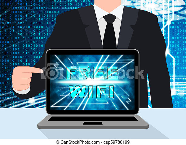 Free Wifi Anywhere Wireless Coverage 3d Illustration - csp59780199