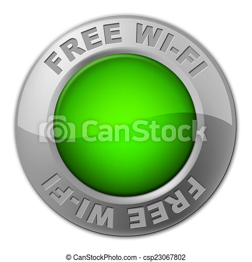 Free Wifi Button Shows With Our Compliments And Access - csp23067802