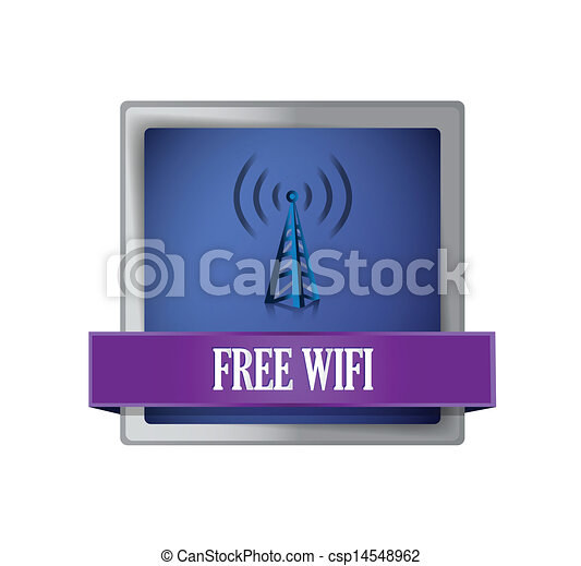 Free wifi glossy blue button illustration - csp14548962