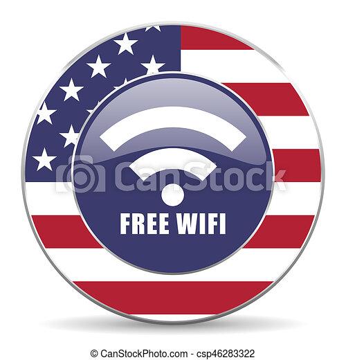 Free wifi usa design web american round internet icon with shadow on white background. - csp46283322