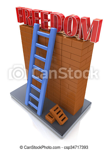 Freedom concept. Ladder leading to a better place - csp34717393