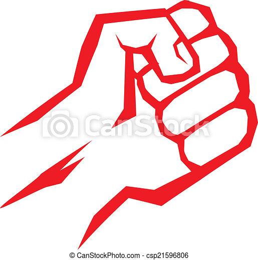 freedom concept. vector red fist icon. - csp21596806