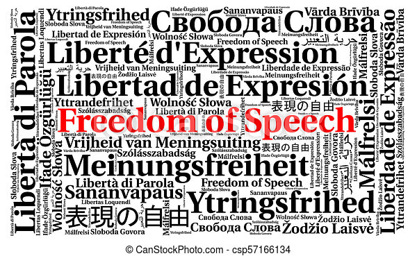 Freedom of speech in different languages word cloud - csp57166134