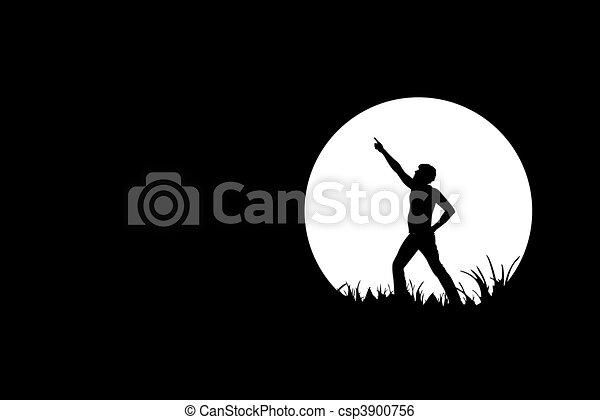 Freedom, people silhouette on black - csp3900756