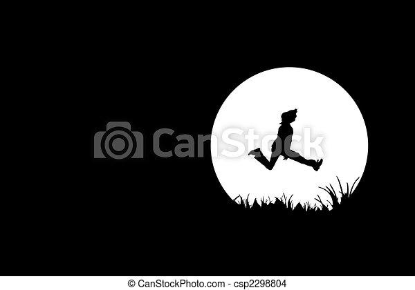 Freedom, people silhouette on black - csp2298804