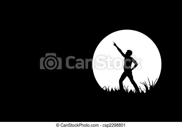 Freedom, people silhouette on black - csp2298801