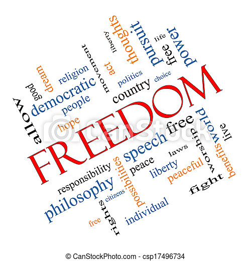 Freedom Word Cloud Concept Angled - csp17496734