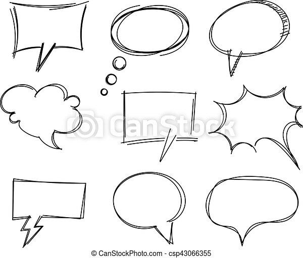 freehand, 項目, 演說, 圖畫, 氣泡 - csp43066355
