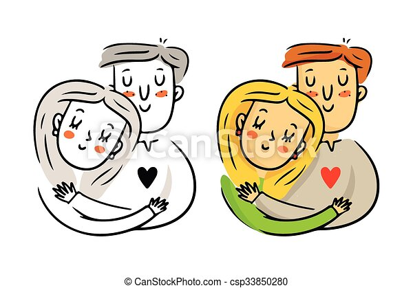 Freehand Cartoon Vector Cuddling Couple In Love Bright St