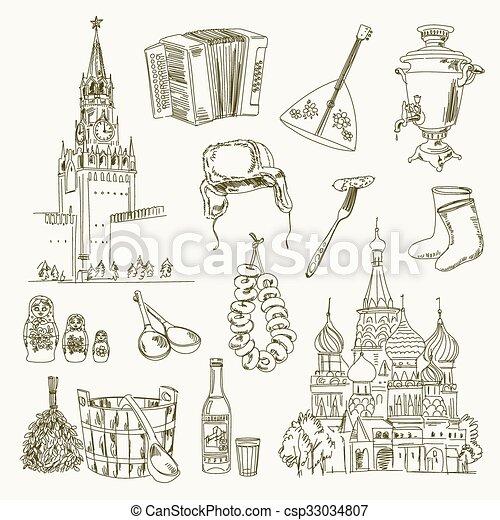 Trazando a mano libre objetos rusos - csp33034807