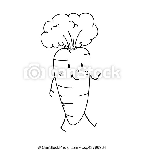 Freehand Drawing Cartoon Character Carrot