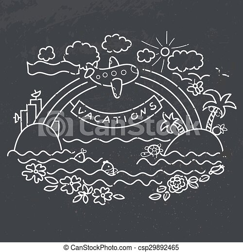 Freehand drawing - flight of airplane - csp29892465