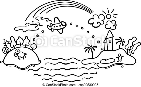 Freehand drawing - flight of airplane - csp29530938