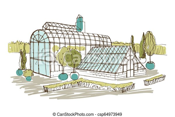 Freehand drawing of pavilion or greenhouse surrounded by bushes and trees growing in pots. Sketch of glass facade of orangery or botanical garden. Hand drawn vector illustration in vintage style. - csp64973949