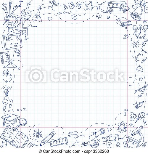 Freehand drawing school stationery items on sheet of exercise book - csp43362260