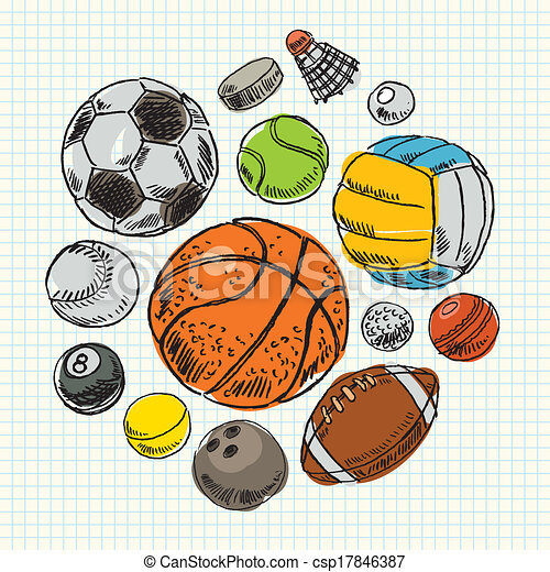 Freehand drawing sport balls - csp17846387