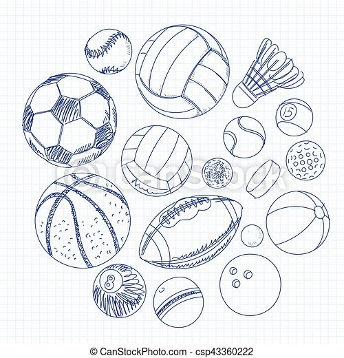 Freehand drawing sport balls on a sheet of exercise book - csp43360222