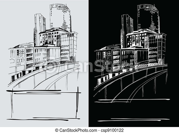 Line Art City : Vector background with freehand drawings of city