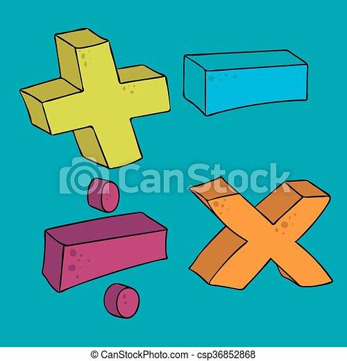 Freehand Drawn Cartoon Math Symbols Plus Minus Multiply Divide Volume