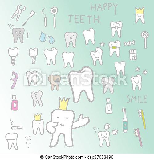 Freehand Jogo Desenho Dentes Dentes Projete Elementos