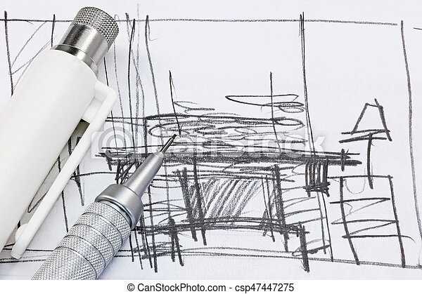 freehand sketch of interior design with drawing tools macro