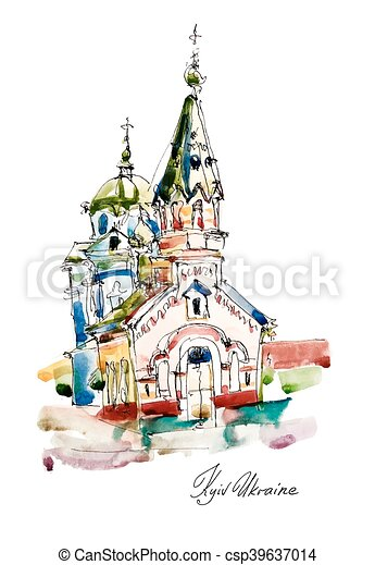 freehand sketch watercolor painting of Church in Podol Kyiv Ukra - csp39637014