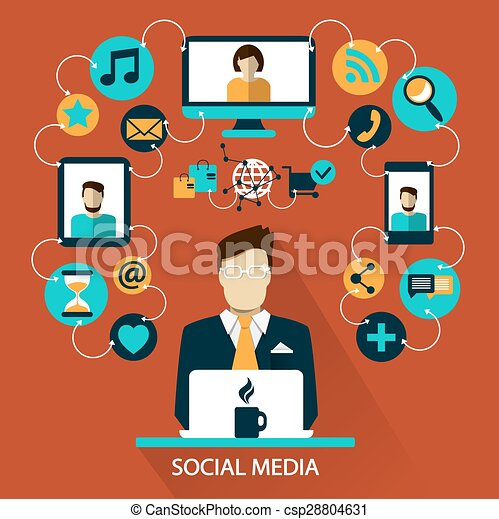 Freelance Career Social Media Flat Design Social Media Icons On A Colorful Background