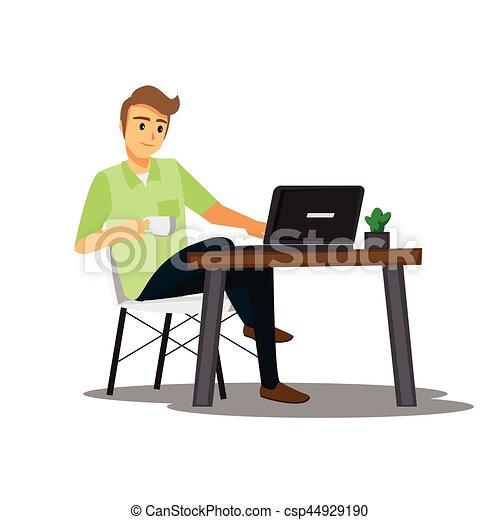 Freelance developer or designer working at home vector Freelance graphic design work from home