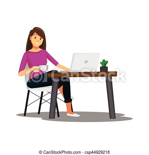 Freelance developer or designer working at home vector vector clip art search illustration for Graphic designer work from home