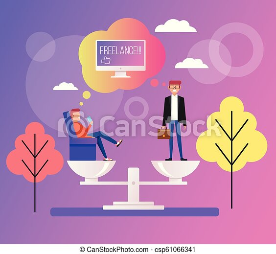 Freelance Or Office Work Work At Home Office Worker Man And Freelancer On Scale Vector Flat Cartoon Design Graphic Canstock