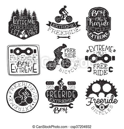 Freeride Bikes Vintage Stamp Collection - csp37204932