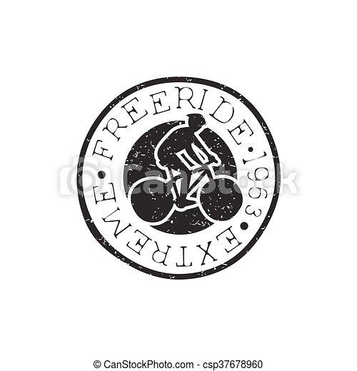 Freeride Round Vintage Stamp - csp37678960