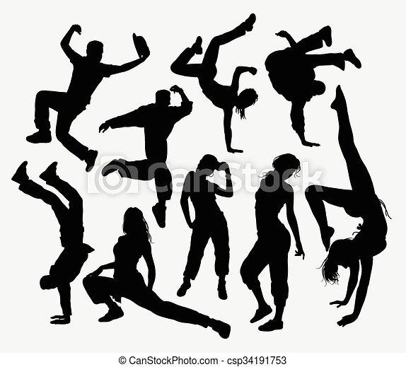 Freestyle dance silhouettes - csp34191753