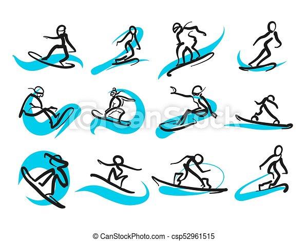 freestyle , snowboarding , θέτω , sketched, άνθρωποι  - csp52961515