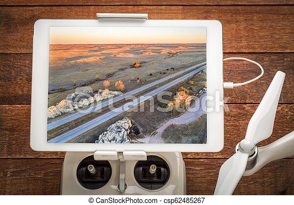 freeway across rolling prairie - csp62485267