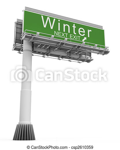 Freeway EXIT Sign Winter - csp2610359