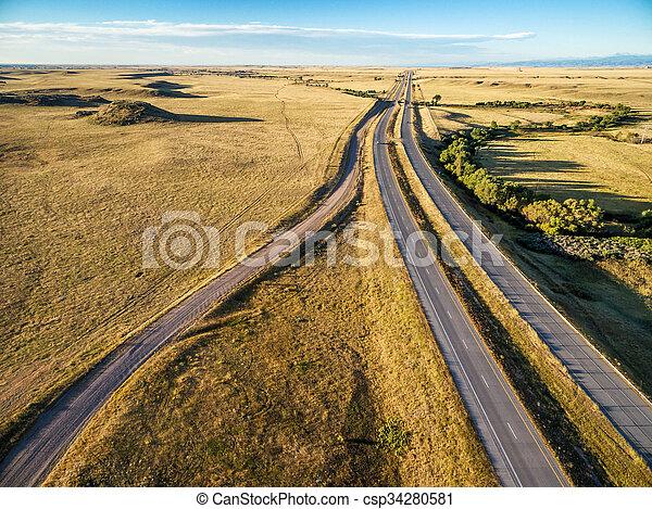 freeway in Colorado prairie - csp34280581