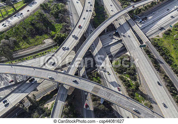 Freeway Interchange Aerial in Los Angeles - csp44081627