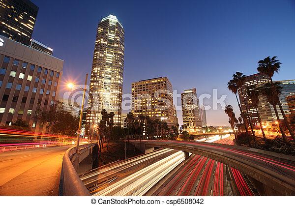 Freeway traffic in downtown Los Angeles - csp6508042